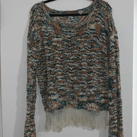 BKE Sweaters - BKE Sweater with Lace Detail